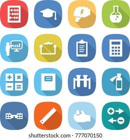 flat vector icon set - abacus vector, graduate hat, brain, round flask, presentation, electrostatic, clipboard, calculator, copybook, test vial, potion bottle, school, ruler, acid, charge particle