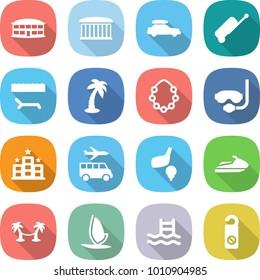flat vector icon set - airport building vector, car baggage, suitcase, lounger, palm, hawaiian wreath, diving mask, hotel, transfer, golf, jet ski, hammock, windsurfing, pool, do not distrub