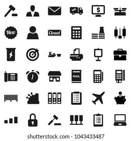 Flat vector icon set - alarm clock vector, presentation, japanese candle, piggy bank, case, binder, monitor dollar, clipboard, enegry drink, plane, port, sorting, server, user, mailbox, consumer
