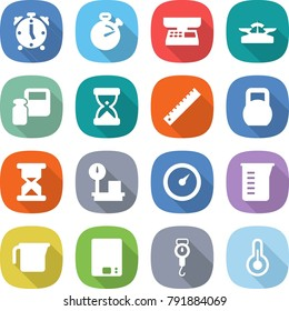 flat vector icon set - alarm clock vector, stopwatch, market scales, weight, sand, ruler, heavy, warehouse, barometer, measuring cup, kitchen, handle, thermometer