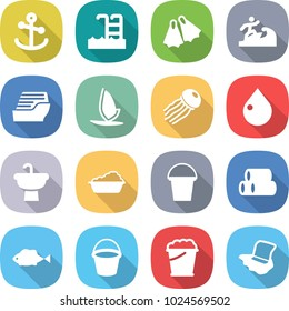 flat vector icon set - anchor vector, pool, flippers, surfer, cruise ship, windsurfing, jellyfish, drop, sink, washing, bucket, pipes, fish, foam, floor