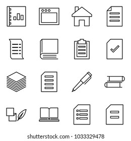 Flat vector icon set - annual report vector, window, home, document, history, book, clipboard, check, paper, pen, books, notes