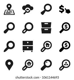 Flat vector icon set - archive vector, magnifier, money search, dollar cursor, navigator, map pin, cloud glass, estate, client