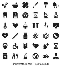 Flat vector icon set - atom vector, flask, heart cross, disabled, thermometer, vial, pregnancy, dropper, scissors, scalpel, sand clock, patch, pills, bottle, mortar, microscope, chromosomes, counter