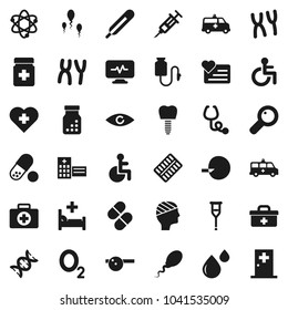 Flat vector icon set - atom vector, pills, heart monitor, cross, first aid kit, oxygen, doctor bag, disabled, thermometer, eye, dna, magnifier, insemination, syringe, crutches, stethoscope, bottle