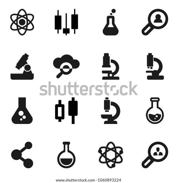 Flat vector icon set - atom vector, microscope, flask, japanese candle, molecule, cloud glass, client search