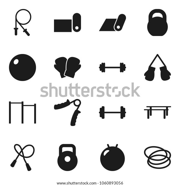 Flat vector icon set - barbell vector, weight, jump rope, hand trainer, horizontal bar, fitball, boxing glove, fitness mat, hoop