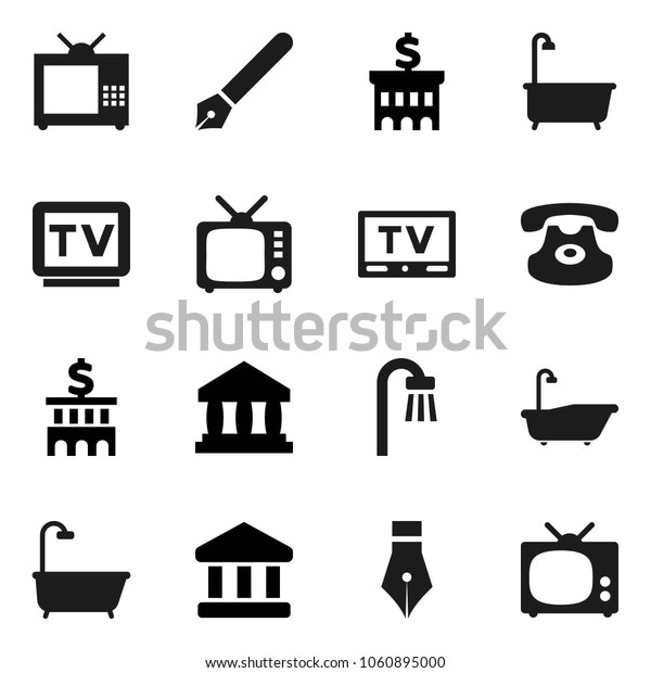 Flat vector icon set - bath vector, pen, bank, building, tv, classic phone