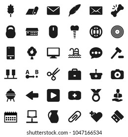 Flat vector icon set - bbq vector, jug, cereal, pen, case, calendar, weight, medal, fitness mat, pool, first aid kit, client, route, disk, camera, mobile phone, monitor, play button, heart cross