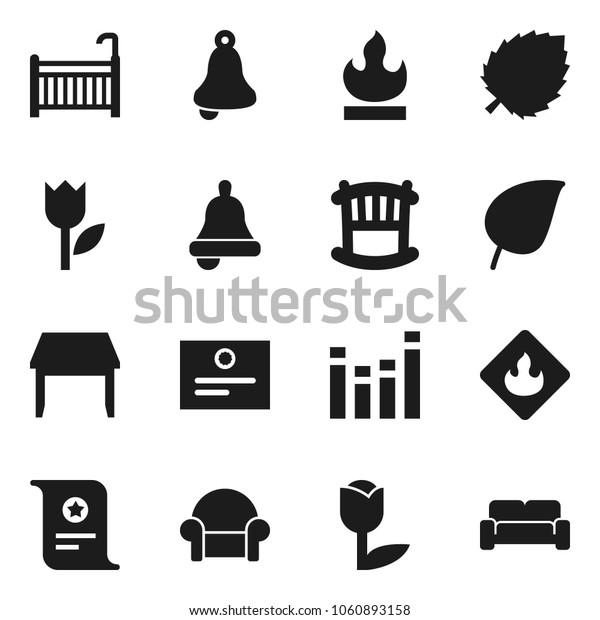 Flat vector icon set - bell vector, certificate, leaf, tulip, flammable, equalizer, crib, table, cushioned furniture