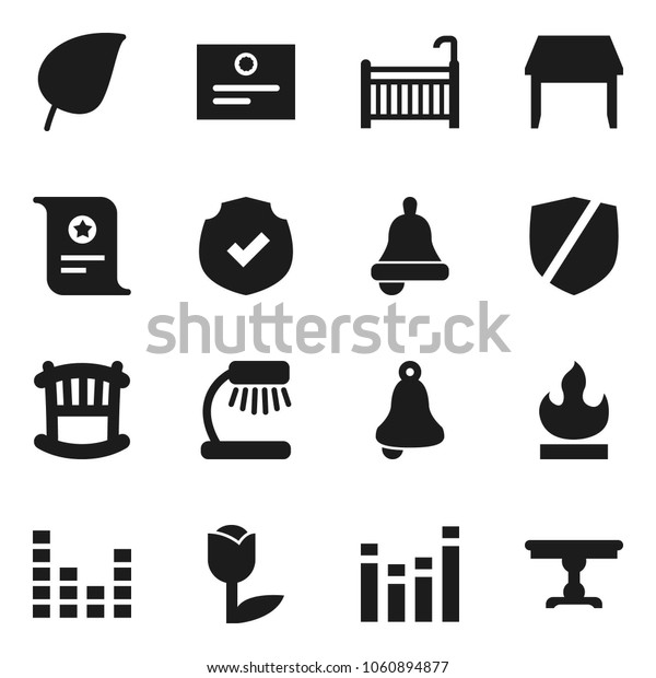 Flat vector icon set - bell vector, table lamp, certificate, leaf, tulip, protected, flammable, equalizer, crib