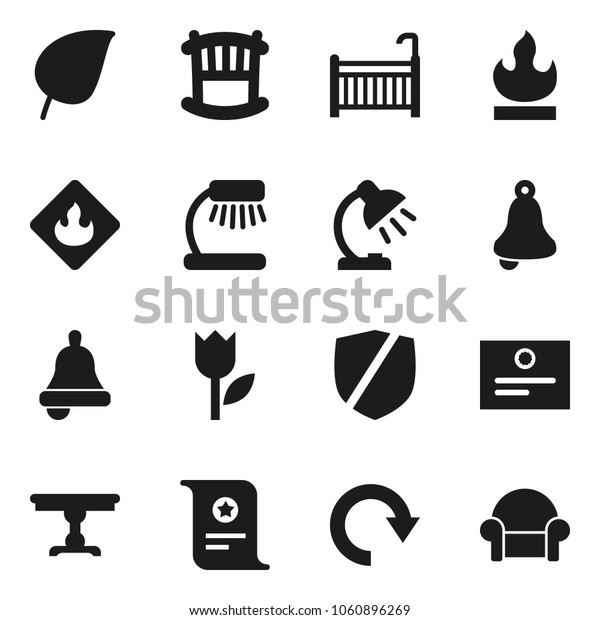 Flat vector icon set - bell vector, table lamp, certificate, leaf, tulip, protected, flammable, redo, crib, cushioned furniture