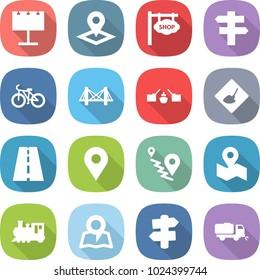 flat vector icon set - billboard vector, pointer, shop signboard, singlepost, bike, bridge, drawbridge, under construction, road, geo pin, route, map, train, signpost, sweeper