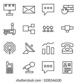 Flat vector icon set - billboard vector, mail, message, firewall, router, share, local network, connection, wireless, satellite antenna, statistics, phone, mobile, microphone, feedback