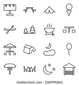 Flat vector icon set - billboard vector, picnic table, tent, golf, canoe, forest, grill, camping, moon cloud, balloon, hotdog, cafe, night, terrace