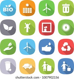 flat vector icon set - bio vector, sun power, windmill, bin, leafs, flower in window, solar, hand leaf, drop, recycling, trash, truck, garbage