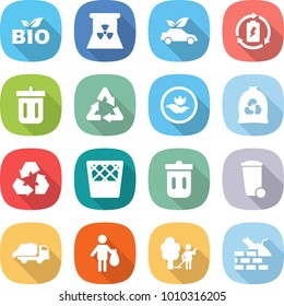 flat vector icon set - bio vector, nuclear power, eco car, battery charge, bin, recycle, ecology, garbage bag, recycling, trash, truck, garden cleaning, construct