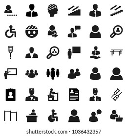 Flat vector icon set - blackboard vector, student, manager, man, personal information, horizontal bar, stairways run, client, speaking, group, disabled, doctor, crutches, head bandage, user, login
