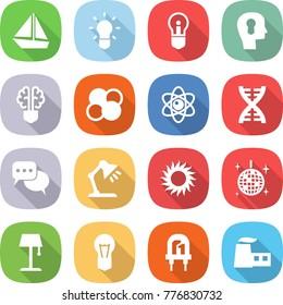 flat vector icon set - boat vector, bulb, head, brain, atom core, dna, discussion, table lamp, sun, disco ball, floor, led, factory