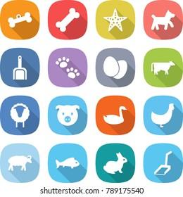 flat vector icon set - bone vector, starfish, dog, scoop, pets, eggs, cow, sheep, pig, goose, chicken, fish, rabbit