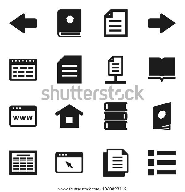 Flat vector icon set - book vector, schedule, document, browser, arrow, network, home, catalog, menu