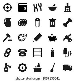 Flat vector icon set - broom vector, trash bin, toilet paper, plates, jug, pencil, student, wallet, piggy bank, punching bag, medal, bone, satellite, shelving, mortar, chromosomes, potion, chain