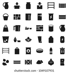 Flat vector icon set - bucket vector, trash bin, garbage pile, measuring cup, jug, sieve, jar, enegry drink, water bottle, sea container, port, wood box, consolidated cargo, package, oil barrel