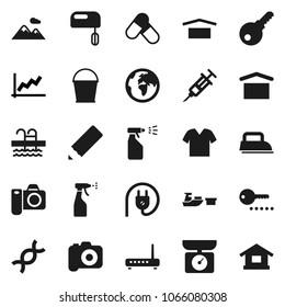 Flat vector icon set - bucket vector, sprayer, pencil, graph, pills, pool, earth, port, dry cargo, camera, dna, syringe, mountain, clothes, password, power plug, iron, mixer, kitchen scales, router