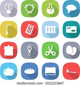 flat vector icon set - bulb brain vector, hex molecule, round flask, outdoor light, inflatable mattress, radiator, envelope, pan, handle scales, scissors, eggs, tomato, bread, sponge, tooth brush