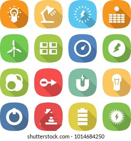 flat vector icon set - bulb vector, table lamp, lightning, sun power, windmill, panel house, barometer, electricity, atom core, electron, magnet, on off button, press, battery, solar