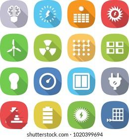 flat vector icon set - bulb brain vector, lightning, sun power, windmill, nuclear, chip, panel house, barometer, switch, plug, press, battery, solar