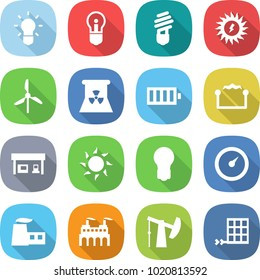 flat vector icon set - bulb vector, sun power, windmill, nuclear, battery, electrostatic, gas station, barometer, factory, oil pump, solar panel