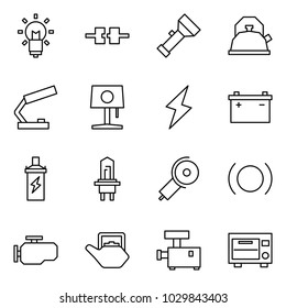 Flat vector icon set - bulb vector, connect, torch, kettle, table lamp, lightning, car battery, spark coil, angle grinding machine, brake, engine, meat chopper, oven
