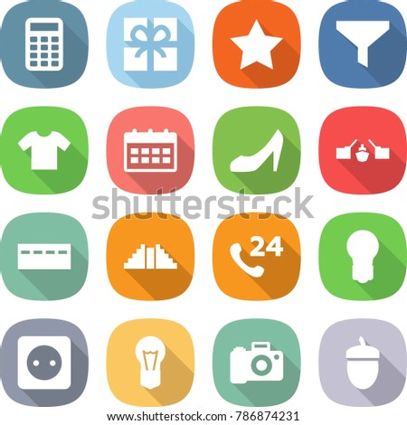 flat vector icon set - calculator vector, gift, star, funnel, t shirt, calendar, shoes, drawbridge, bunker, pyramid, phone 24, bulb, power socket, camera, ...