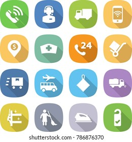 flat vector icon set - call vector, center, truck, phone wireless, dollar pin, medical hat, 24, trolley, fast deliver, transfer, rag, sweeper, skyscrapers cleaning, brooming, iron, please clean