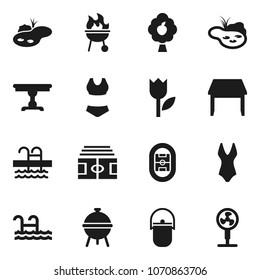 Flat vector icon set - camping cauldron vector, bbq, stadium, swimsuite, pool, tulip, pond, fruit tree, table, fan