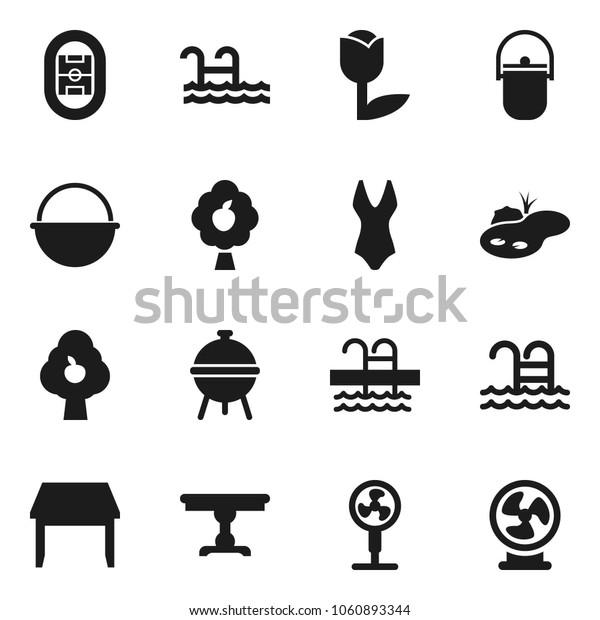 Flat vector icon set - camping cauldron vector, bbq, swimsuite, pool, stadium, tulip, pond, fruit tree, table, fan