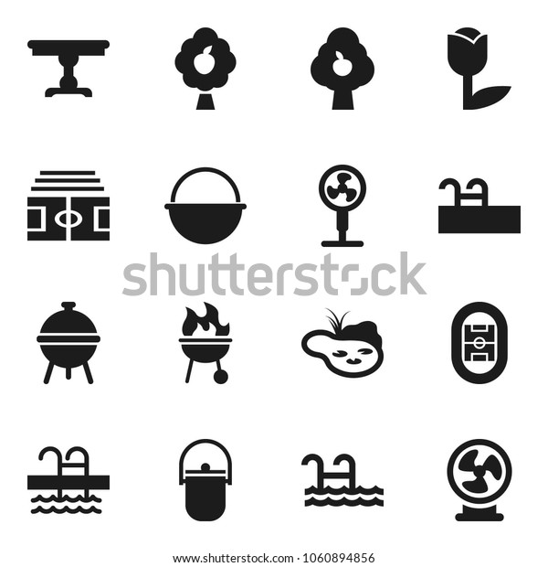 Flat vector icon set - camping cauldron vector, bbq, stadium, pool, tulip, pond, fruit tree, table, fan