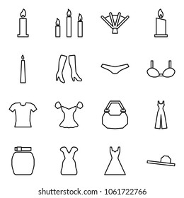 Flat vector icon set - candle vector, candles, fan, boots, underpants, bra, blouse, lady bag, female overalls, skirt, dress, hat
