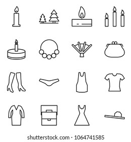 Flat vector icon set - candle vector, forest, candles, necklace, fan, purse, boots, underpants, dress, blouse, bathrobe, lady bag, female hat