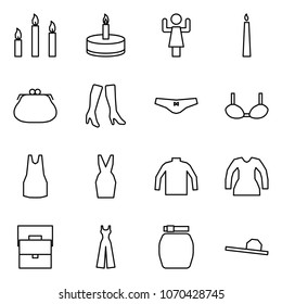 Flat vector icon set - candles vector, candle, toastmaster, purse, boots, underpants, bra, dress, turtleneck, blouse, lady bag, female overalls, skirt, hat