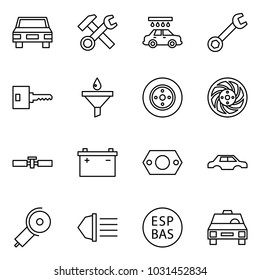 Flat vector icon set - car vector, hammer wrench cross, wash, key, funnel, brake disk, cardan shaft, battery, gasket, body, angle grinding machine, high beam, ESP, taxi