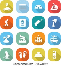 flat vector icon set - car pointer vector, airport building, dome house, sail boat, tourist, passport, suitcase, palm, island, aquapark, hotel, transfer, windsurfing, flip flops, service bell