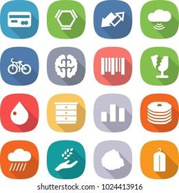 flat vector icon set - card vector, hex molecule, up down arrow, cloud wireless, bike, brain, bar code, broken, drop, chest of drawers, chart, pancakes, rain, harvest, pile garbage, dry wash