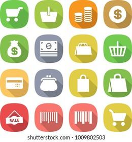 flat vector icon set - cart vector, basket, coin stack, dollar, money bag, shopping, credit card, purse, sale, bar code