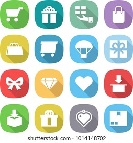 flat vector icon set - cart vector, gift, shopping bag, delivery, parachute, bow, diamond, heart, package, hi quality, pendant