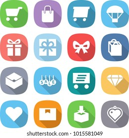 flat vector icon set - cart vector, shopping bag, delivery, parachute, gift, bow, box, sale, diamond, heart, package, pendant