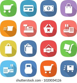 flat vector icon set - cart vector, card, money, shopping bag, delivery, cashbox, delete, store, sale, cargo stoller, mall, heavy, fast deliver