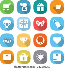 flat vector icon set - cart vector, money gift, delivery, parachute, bow, label, sale, diamond, necklace, heart, package box, hi quality, pendant