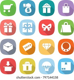 flat vector icon set - cart vector, money gift, shopping bag, bow, box, sale label, diamond, necklace, package, hi quality, parachute delivery